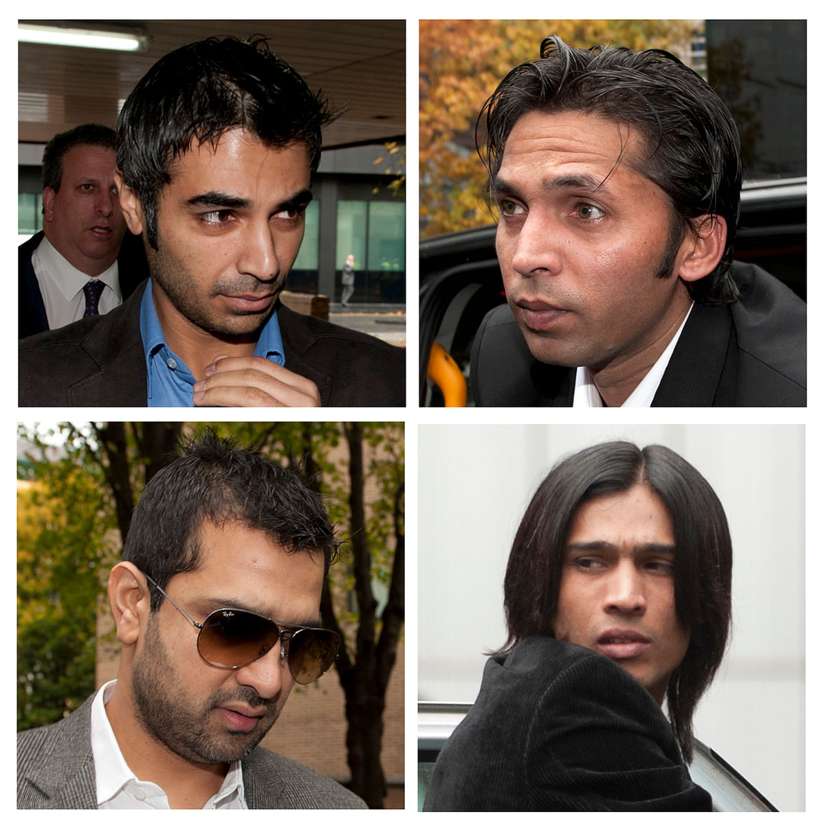 Former Pakistan cricket captain Salman Butt (top L), cricketers Mohammad Asif (top R), Mohammad Amir (bottom R) and agent Mazhar Majeed arriving for their sentencing at Southwark Crown court in London. (Photo: Reuters)