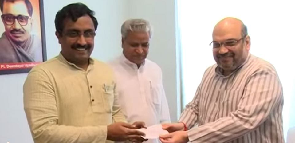 BJP General Secretary Ram Madhav (L), who was the key negotiator in forming the BJP-PDP alliance in Jammu and Kashmir with BJP President Amit Shah (R). (Photo Courtesy: BJP/YouTube)
