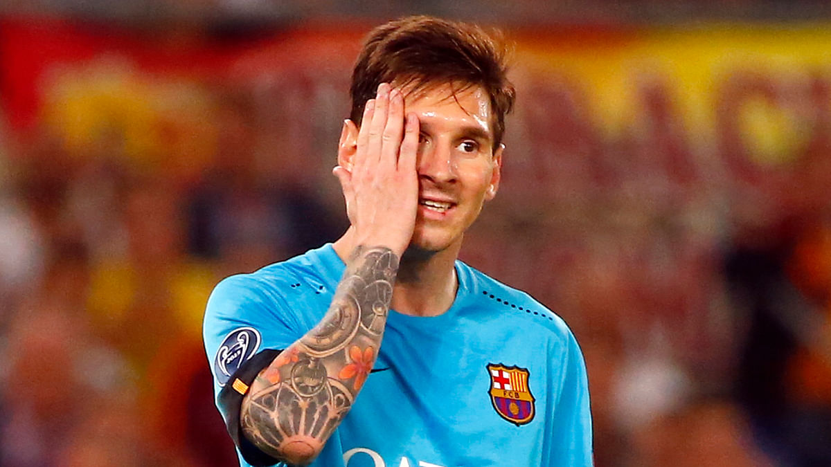 Barcelona's Lionel Messi reacts during the match against AS Roma in their Champions League Group E fixture. (Photo: Reuters)