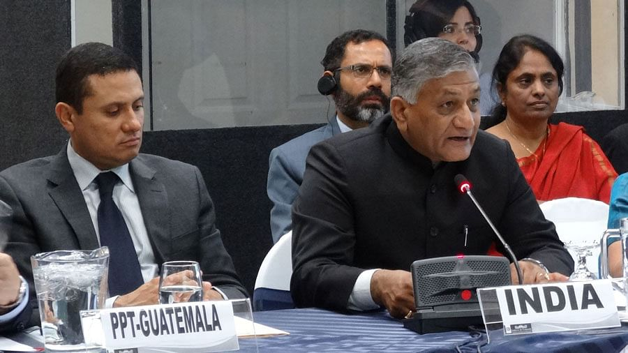 """Minister of Development of North Eastern Region VK Singh (second from R). (Photo: <a href=""""https://www.facebook.com/generalvksingh/photos/a.293494744113705.67797.293491824113997/696125760517266/?type=1&amp;theater"""">Facebook.com/VKSingh</a>)"""