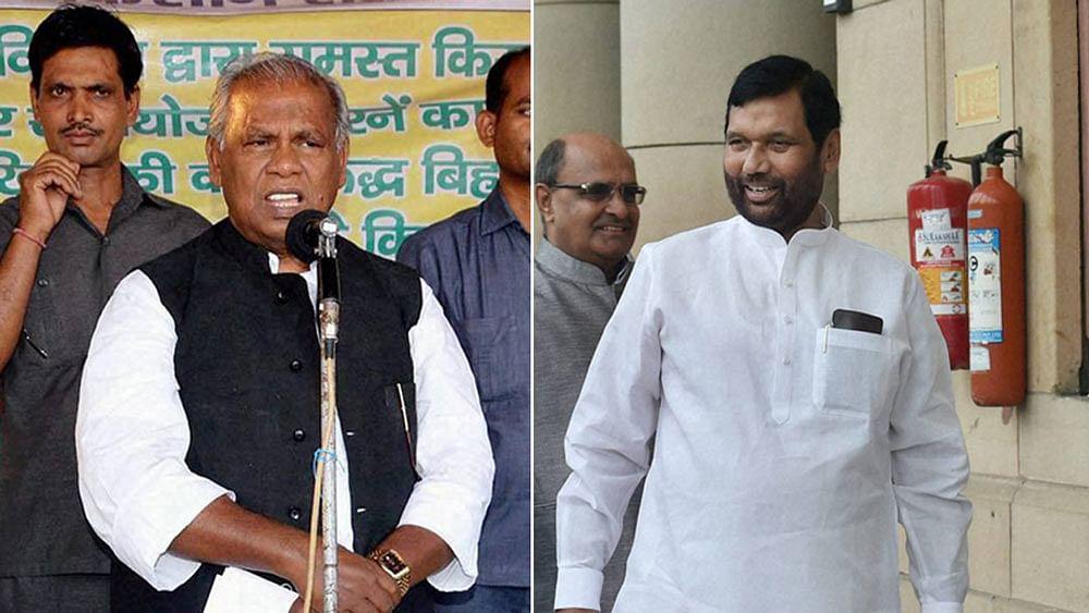 HAM-S leader Jitan Ram Manjhi (left) and LJP leader Ram Vilas Paswan. (Photo: PTI)
