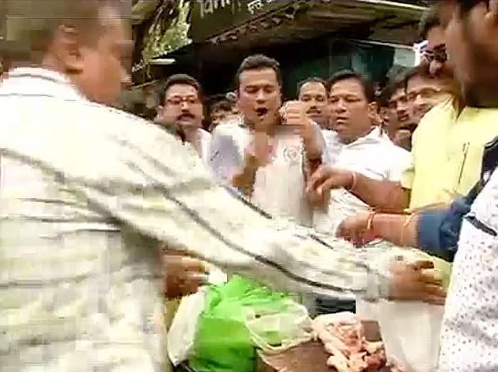 MNS workers selling meat in Dadar, Mumbai. (Photo: ANI)