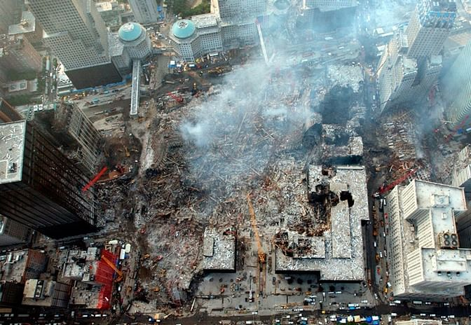 An aerial view of the site of the World Trade Center disaster.