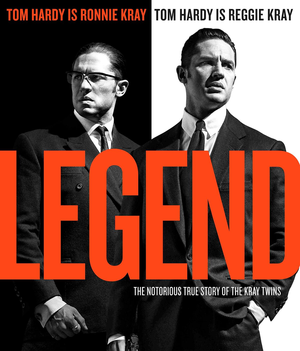 Tom Hardy as Ronnie and Reggie Kray in <i>Legend</i>