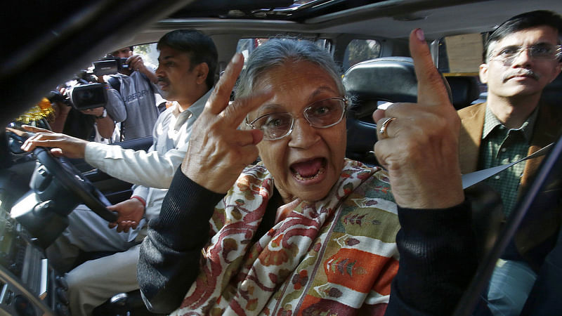 Sheila Dikshit after casting her vote in a Delhi state assembly election. This image is used for representational purposes.  (Photo: Reuters)