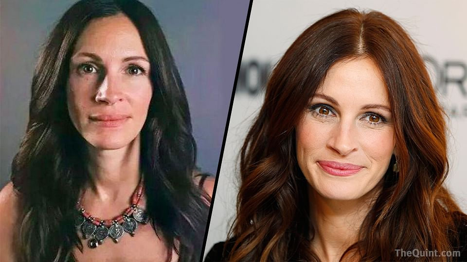 Julia Roberts without and with make-up. (Photo: Altered by The Quint)