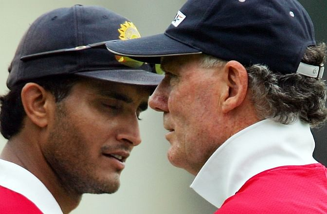 Sourav Ganguly with India's coach at the time, Greg Chappell. (Photo: Reuters)
