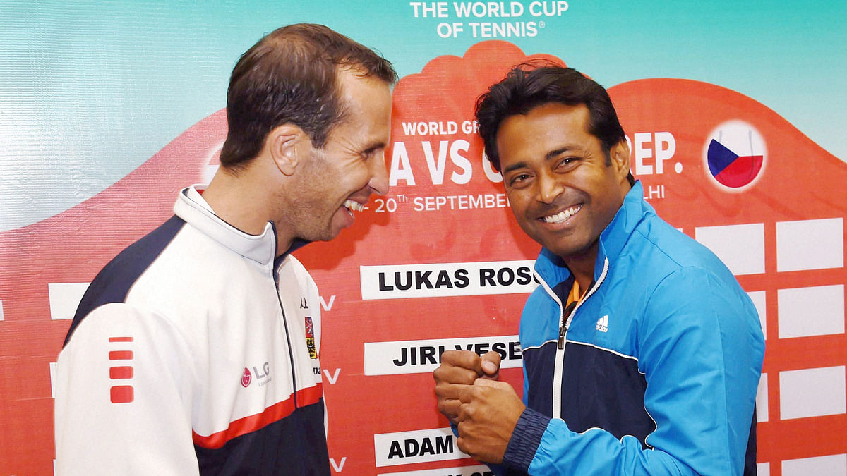 India's Leander Paes, right, and Radek Stepanek of Czech Republic share a light moment before the draw ceremony on Thursday. (Photo: PTI)