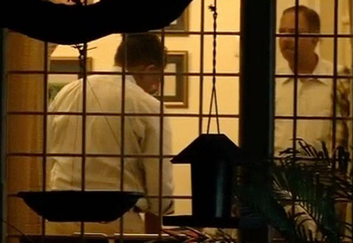 ACB officials inside Singhvi's house. (Photo: ANI)