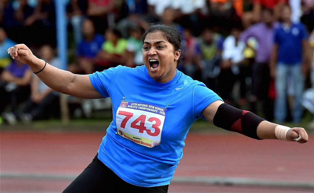 Manpreet Kaur of Railways reacts after setting a new National Record (17.96m) in the Women's shot put event during the55th National Athletics Championship. (Photo: PTI)