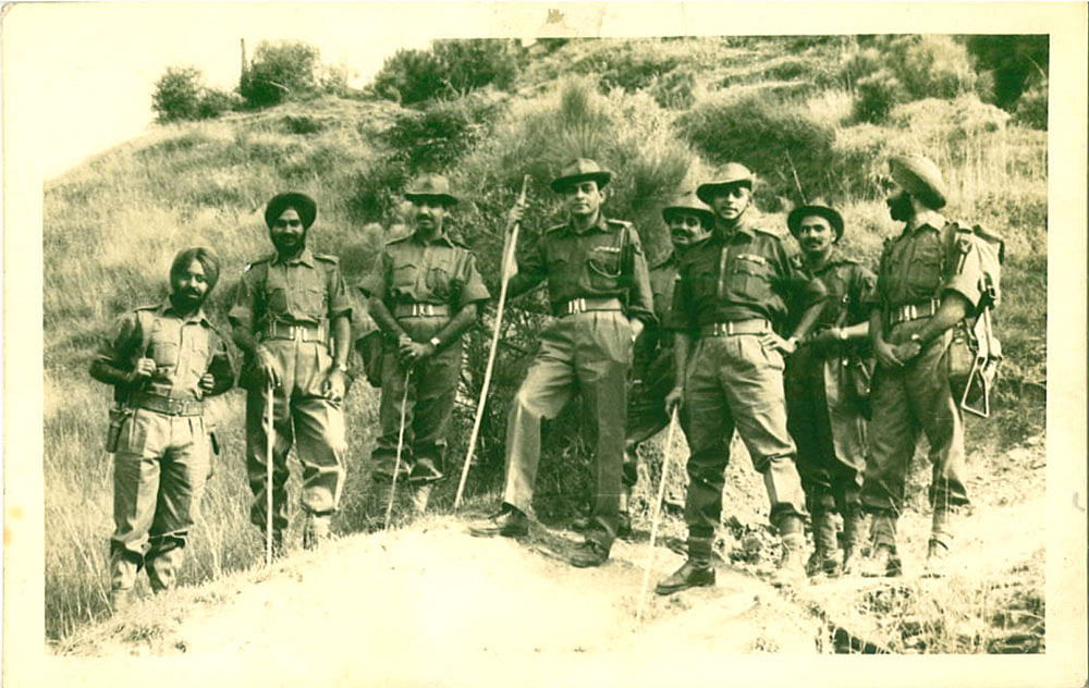 Lt Col PR Jesus (standing 3rd from right)at an unknown location with members of his army unit. (Photo: Rohit Khanna)