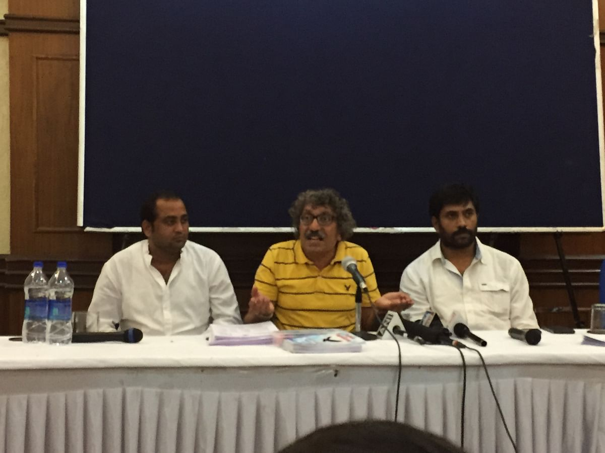 Whistleblowers speak candidly to The Quint after the press conference in Delhi. (L-R) Manoj Tiwari, Paras Saklecha and Ajay Dubey. (Photo: The Quint)