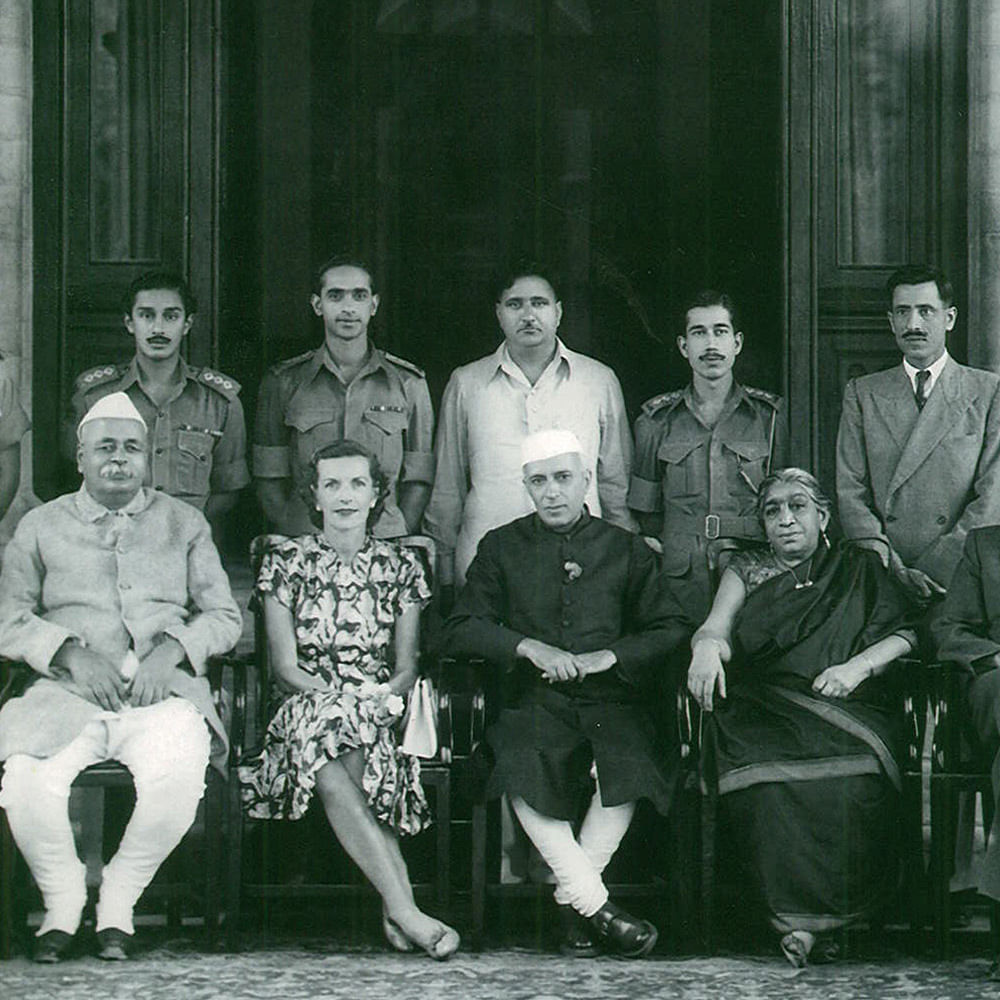 Seated (L-R) GB Pant, Lady Edwina Mountbatten, Jawaharlal Nehru, Sarojini Naidu. Standing 2nd from Left (behind Lady Mountbatten) is Capt PR Jesus. Nainital, 1948. (Photo: Rohit Khanna)