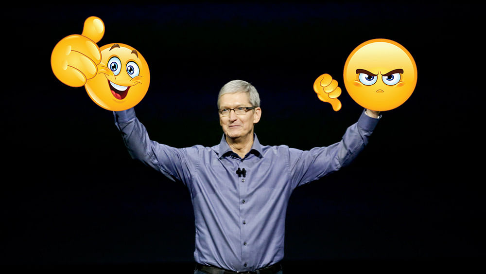 Apple Inc CEO Tim Cook at the event. (The photo has been altered by The Quint)