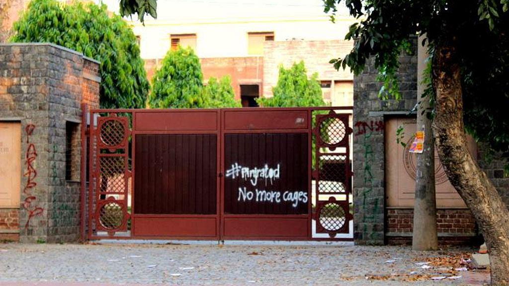 "The front gate of Miranda House, University of Delhi. (Photo: Facebook/<a href=""http://https://www.facebook.com/pinjra.tod.3?fref=ts"">Pinjra Tod</a>)"