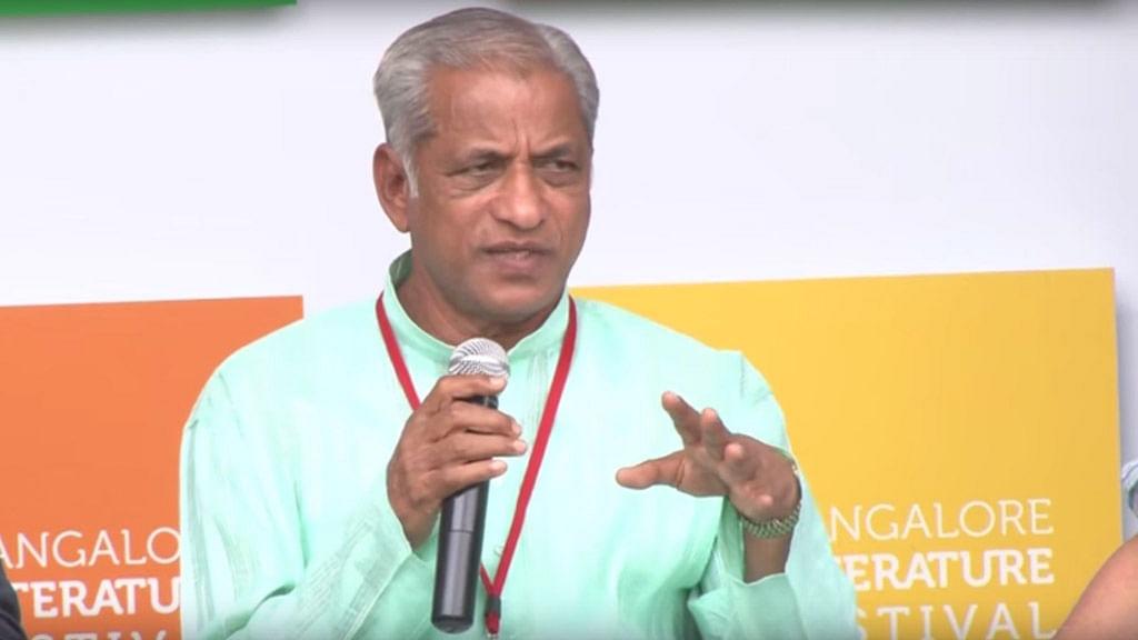 "KS Bhagwan speaking at the Bangalore Literature Festival in April. (Photo: <a href=""https://www.youtube.com/watch?v=mYvjn4rCGPY"">YouTube/BangaloreLitFest</a>)"