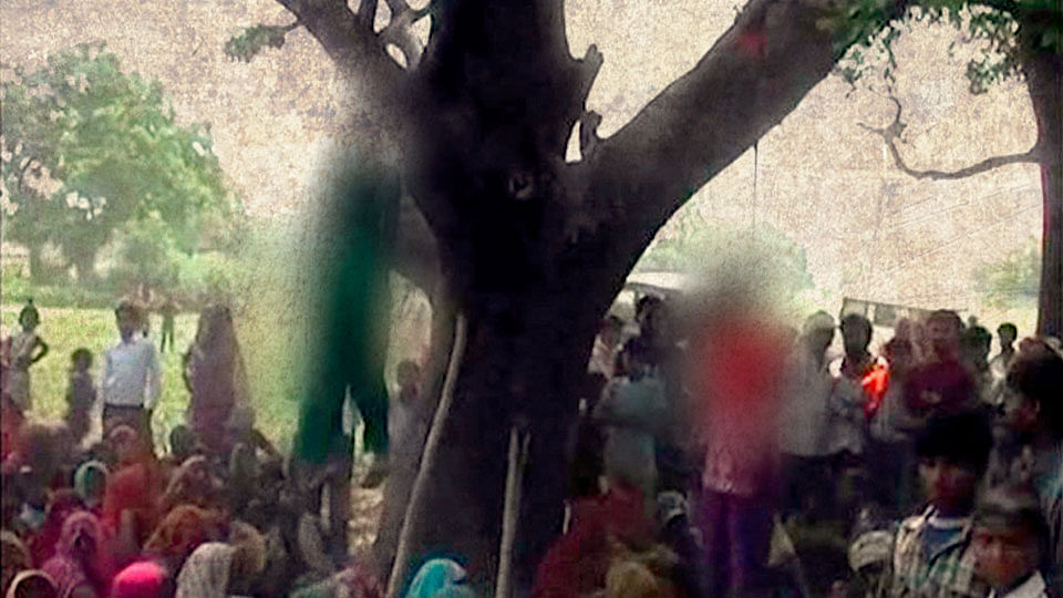 Three cops were suspended for shielding the main accused who allegedly raped and murdered two sisters in Badaun. Their bodies were found hanging from a mango tree in Katra village.