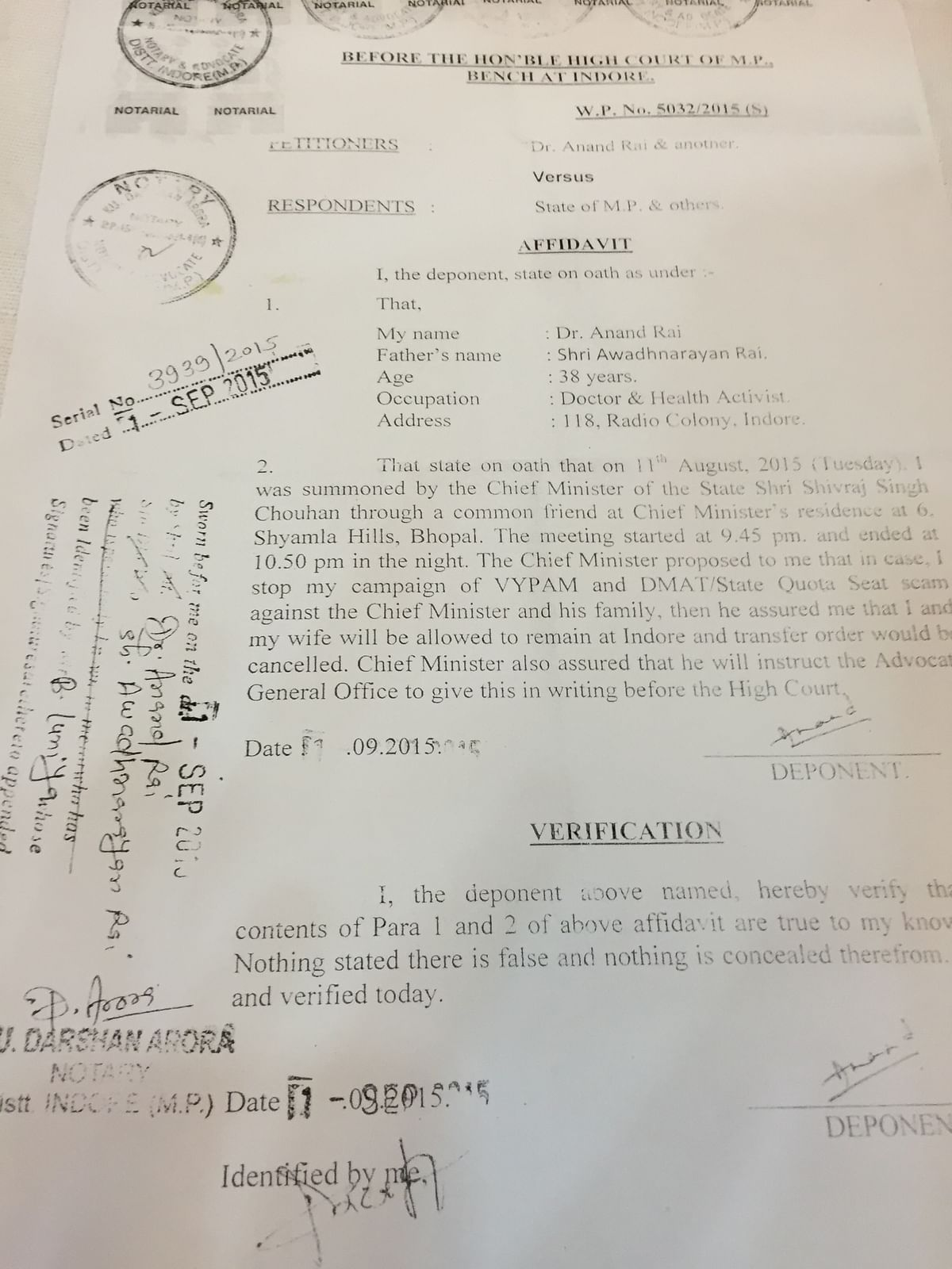 Exclusive copy of the affidavit filed by whistleblower Dr. Anand Rai with the MP High Court stating that Chief Minister Shivraj Singh Chauhan is trying to silence whistleblowers. (Photo: <i>The Quint</i>)