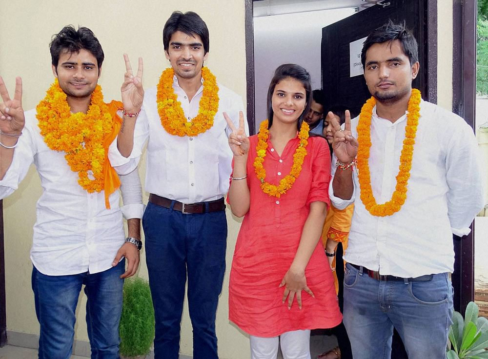 File photo of ABVP candidates for DUSU elections. (Photo: PTI)