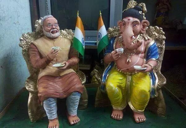 """NaMo's 'chai pe charcha' with Ganeshji"". (Photo: <a href=""https://twitter.com/Twisted_Damsel"">Twitter/Twisted_Damsel</a>)"