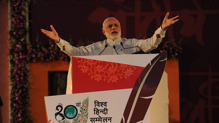 """PM addressing the 10th World Hindi Conference in Bhopal. (Photo: twitter/<a href=""""https://twitter.com/PIB_India"""">@PIB_India</a>)"""