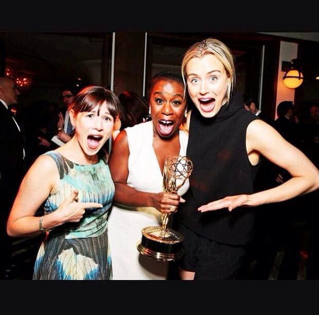 """Yael Stone (Lorna Morello), Uzo Aduba (Crazy Eyes) and Taylor Schilling (Piper Chapman) from <i>Orange is The New Black</i> at the Emmies (Image courtesy: Facebook/ <a href=""""https://www.facebook.com/OfficialTaylorSchilling/photos/pb.431926456833005.-2207520000.1441313365./997168896975422/?type=1&amp;theater"""">Taylor Schilling</a>)"""