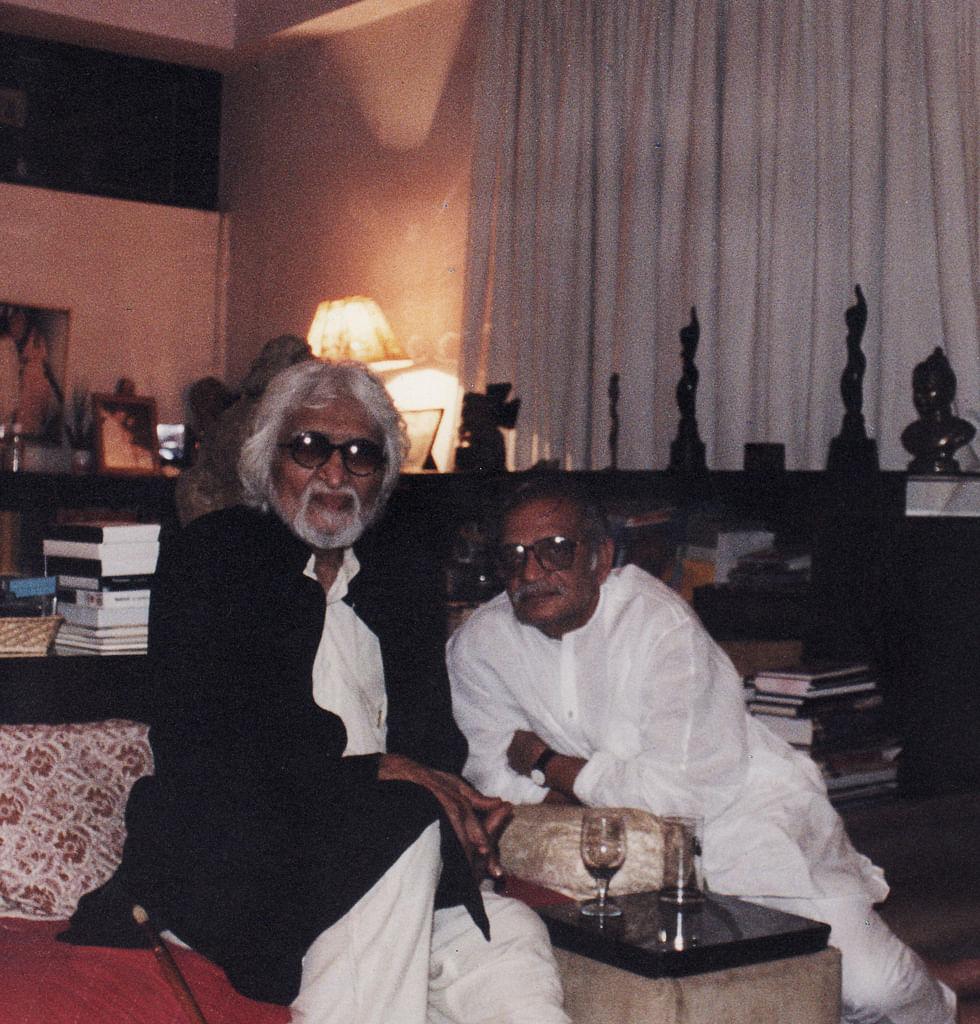 Husain with Gulzar (Photo: Khalid Mohamed)