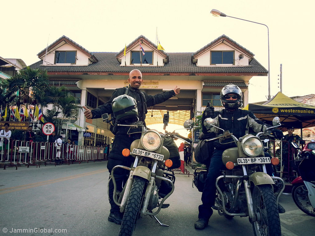 Successfully entering Thailand at Mae Sot after crossing the length of Myanmar. (Photo: Jay Kannaiyan)