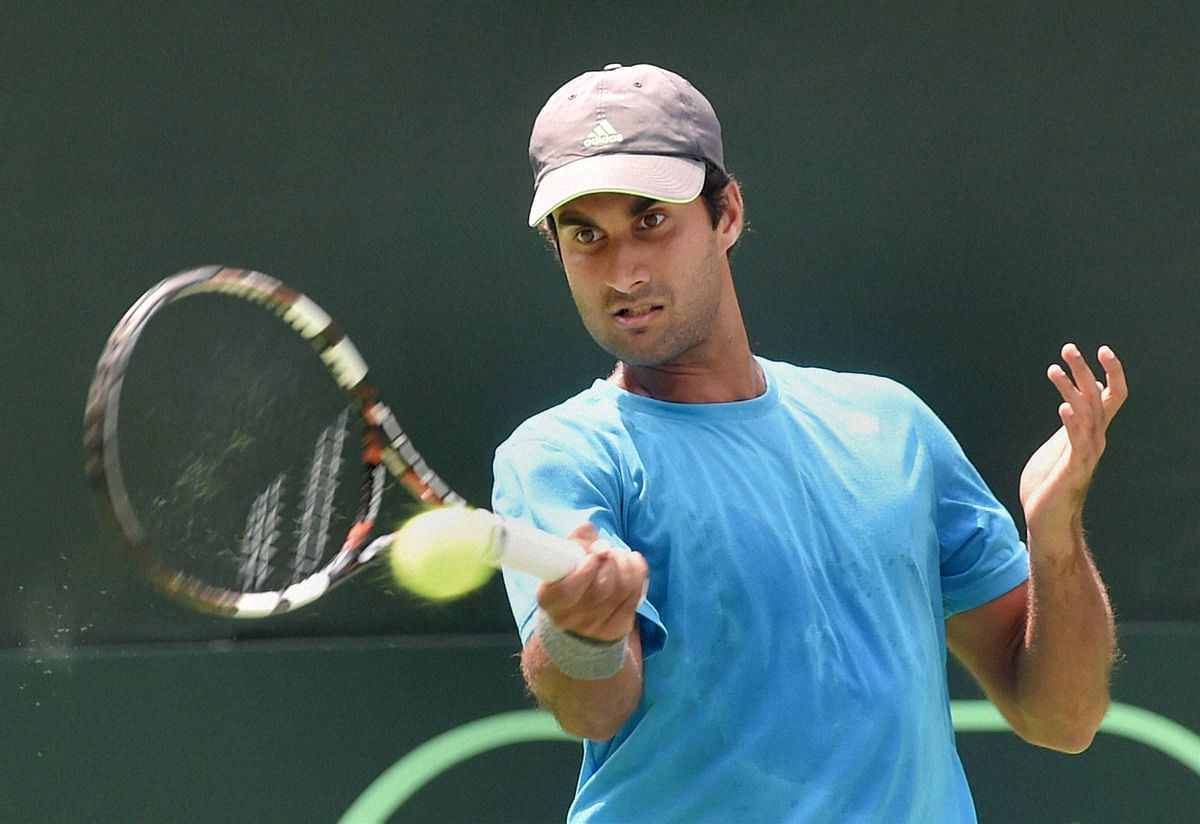 Yuki Bhambri during a practice session at the Delhi Lawn Tennis Association Courts in New Delhi. (Photo: PTI)