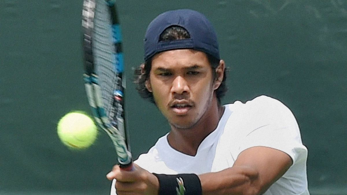 Somdev Devvarman during a practice session at the Delhi Lawn Tennis Association Courts in New Delhi on Tuesday. (Photo: PTI)