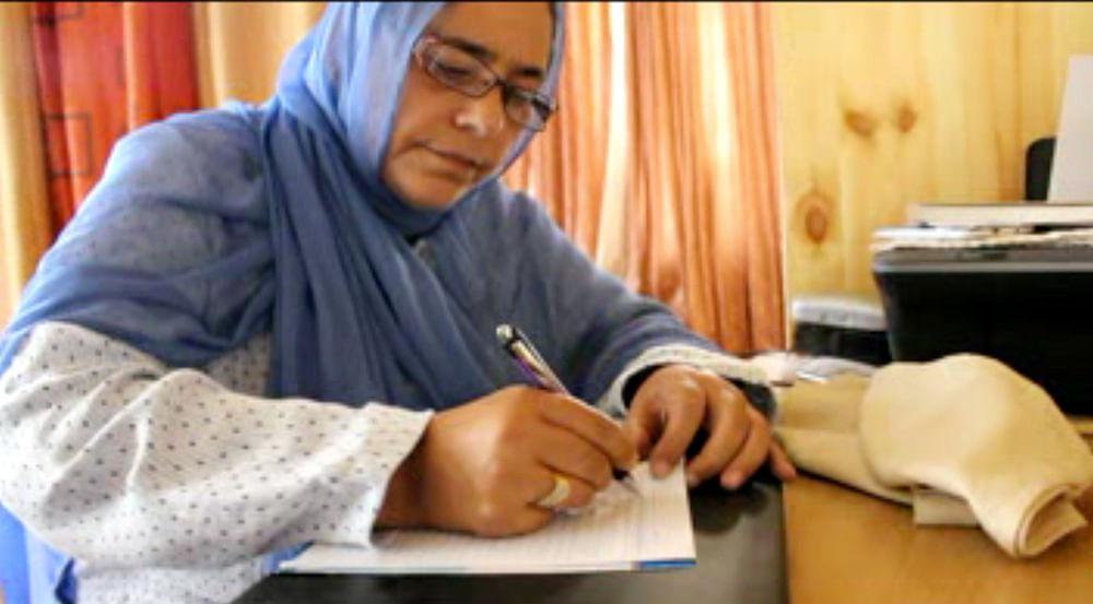 Anjum Zamrud Habib, author of Prisoner No. 100, at her writing desk. (Photo: Ahmad Mukhtiyar)