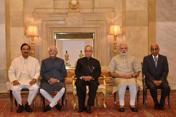 "(From Left to right): Minister of State in Prime Minister's Office Jitendra Singh, Vice President Hamid Ansari, President Pranab Mukherjee, PM Narendra Modi and ISRO Chairman AS Kiran Kumar. (Photo: <a href=""https://twitter.com/RashtrapatiBhvn"">Twitter</a>)"