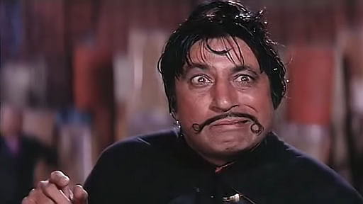 Shakti Kapoor as Crime Master Gogo&nbsp;in a scene from <i>Andaz Apna Apna</i>
