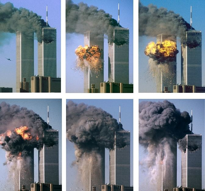 This series of photographs shows the hijacked United Airlines Flight 175 as it hits the World Trade Center's twin towers.