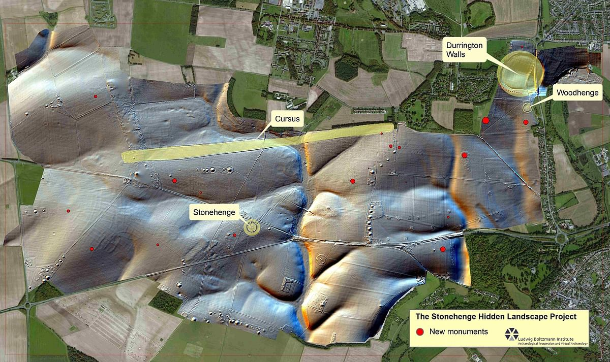 """The location of newly discovered monuments around Stonehenge. (Photo: <a href=""""http://lbi-archpro.org/cs/stonehenge/"""">Geert</a>)"""