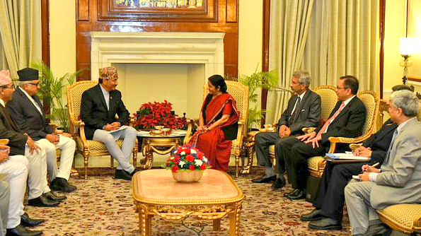 The Deputy Prime Minister of Nepal, Kamal Thapa, met with India's Minister of External Affairs, Sushma Swaraj, at Hyderabad House on Sunday. (Photo: MEA)