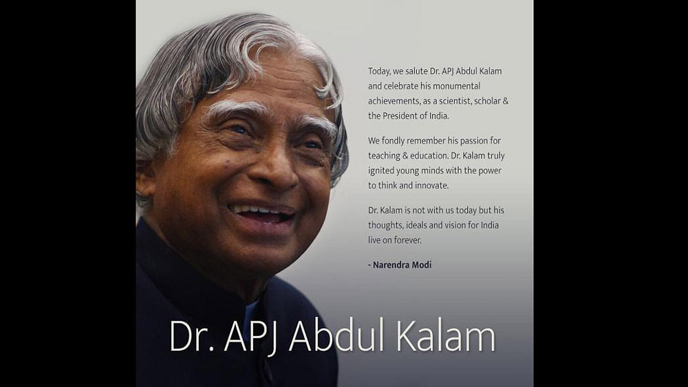 "PM Modi's official release for APJ Abdul Kalam called <i>Salutations to Dr APJ Abdul Kalam on his birth anniversary. </i>(Courtesy: <a href=""https://twitter.com/PMOIndia"">Twitter/@PMOIndia</a>)"