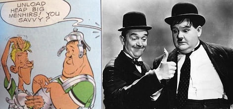 "Laurel and Hardy as themselves (Courtesy: <a href=""http://www.everythingasterix.com/news-and-views-content/2015/3/25/the-24-best-cameos-in-asterix"">www.everythingasterix.com</a>)"