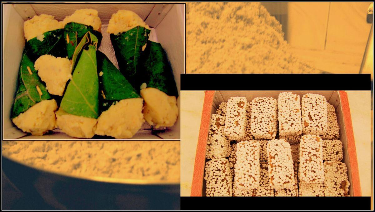 Bal Mitahi (right) - brown chocolate-like fudge made from khoya coated with sugar balls. Singodi (left)-flavoured khoya wrapped in oak leaves. (Courtesy: Deeptangan Pant)