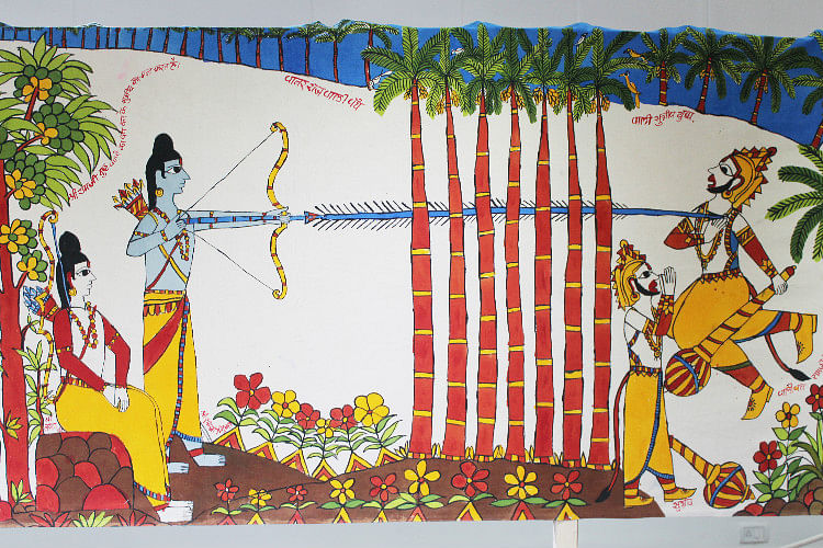 Rama and Lakshmana killing Vali, brother of Angad. (Photo Courtesy: The News Minute)