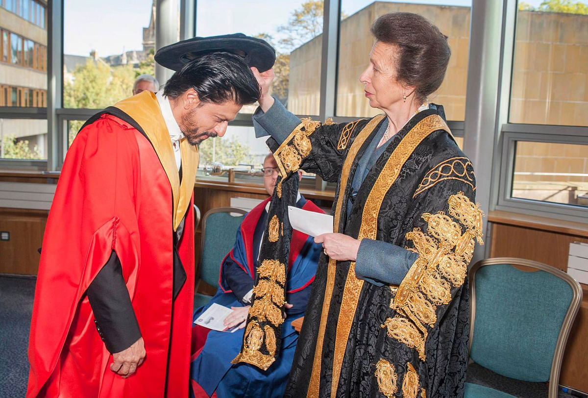 SRK receiving his degree from the University's Chancellor, HRH The Princess Royal.