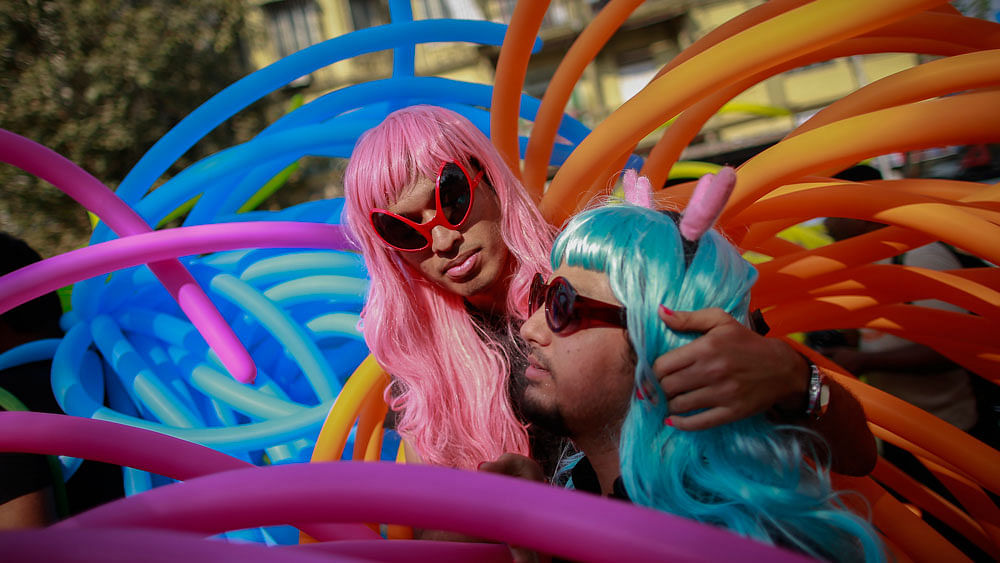 Participants attend a gay pride parade, which is promoting gay, lesbian, bisexual and transgender rights, in Mumbai (Photo: Reuters)