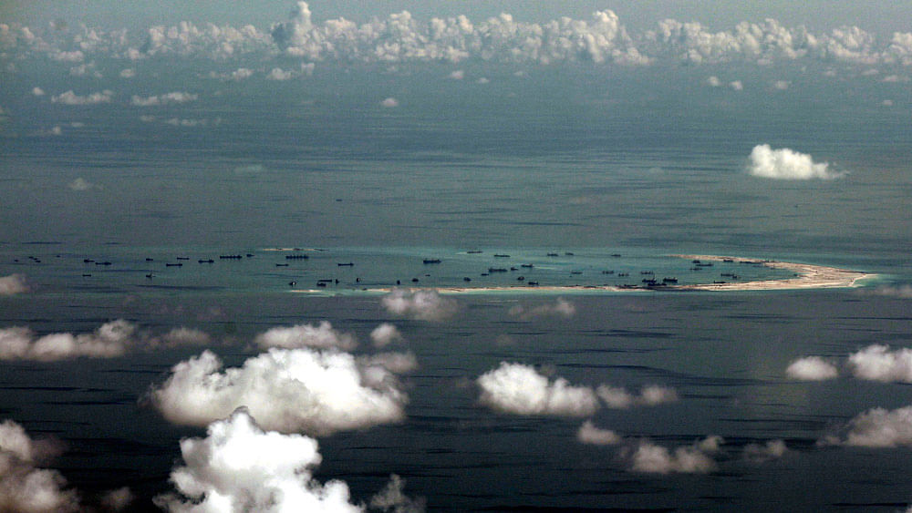 This May 11, 2015, file photo  shows China's alleged on-going reclamation of Mischief Reef in the Spratly Islands in the South China Sea. (Photo: AP)