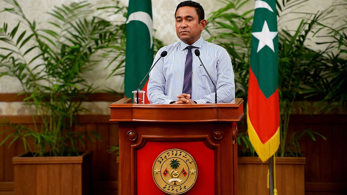 Maldives President Yameen Abdul Gayoom addressing the nation in Male, Maldives.File Photo. (Photo: AP)