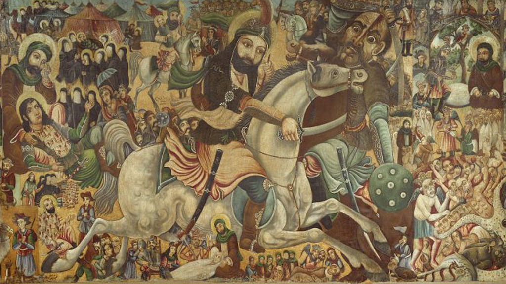 A 19th century painting depicting the battle of Karbala (now in Iraq).