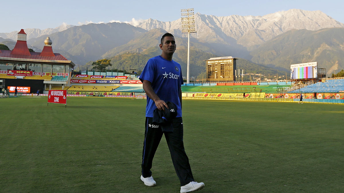 India's captain Mahendra Singh Dhoni leaves after a practice session. (Photo: Reuters)