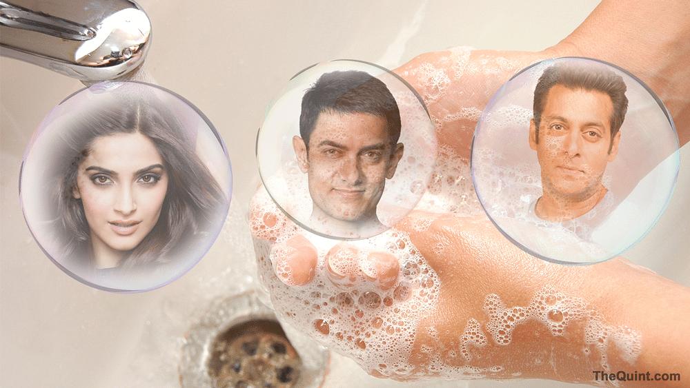 (Left to right) Sonam Kapoor, Aamir Khan and Salman Khan celebrating Global Handwashing Day. (Photo: Hardeep Singh/<b>TheQuint</b>)