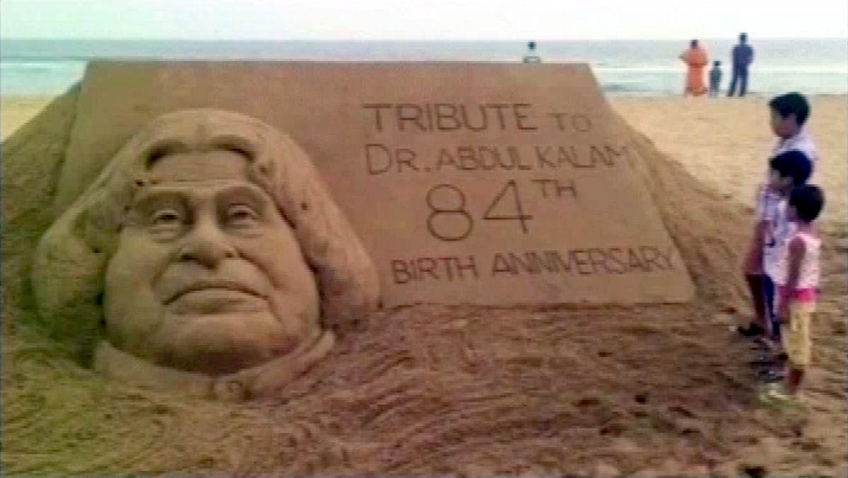 Sand sculpture of former president APJ Abdul Kalam. (Photo: ANI screengrab)