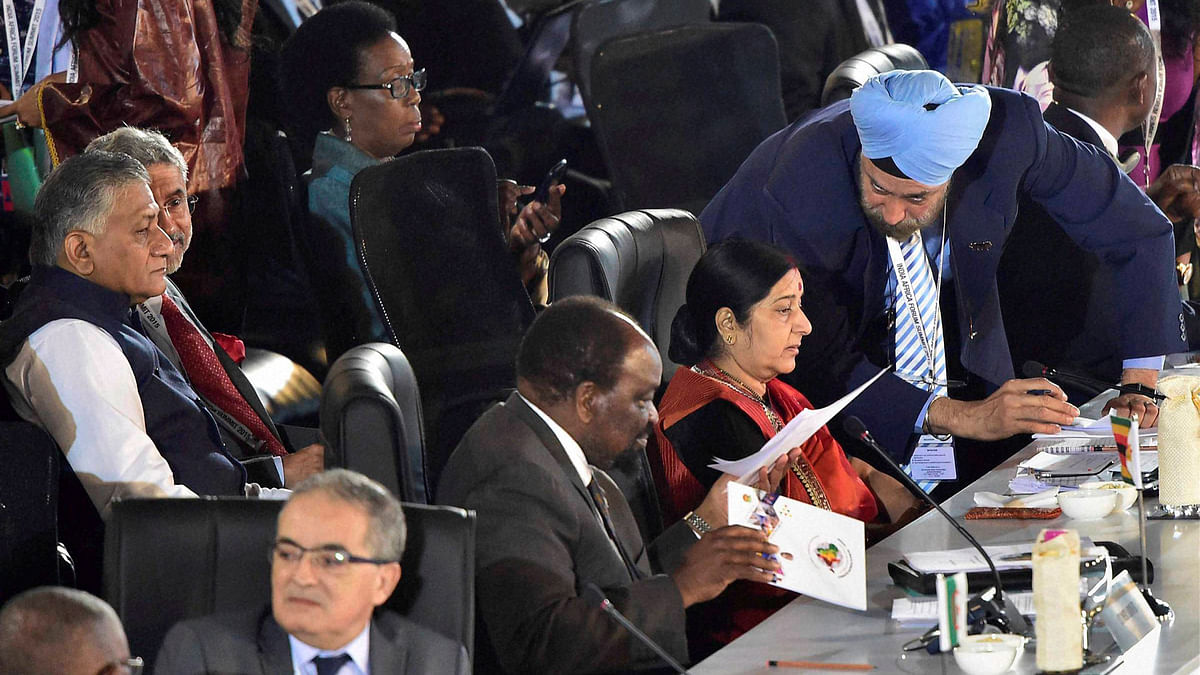 External Affairs Minister Sushma Swaraj during her address at the India-Africa Summit in New Delhi on Tuesday. (Photo: PTI)