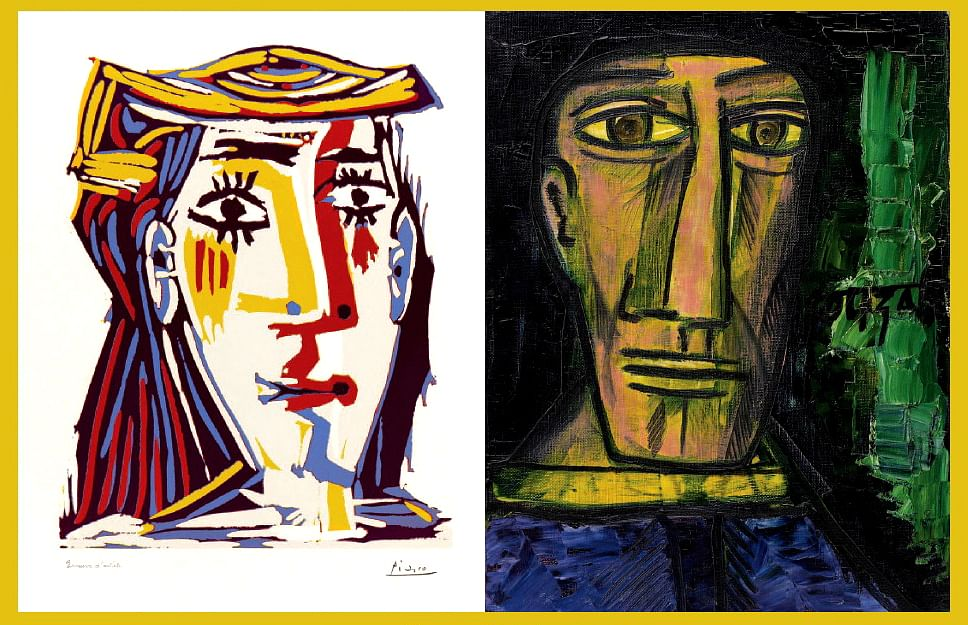 Picasso's Femme au Chapeau and Souza's Untitled (Head of Picasso).